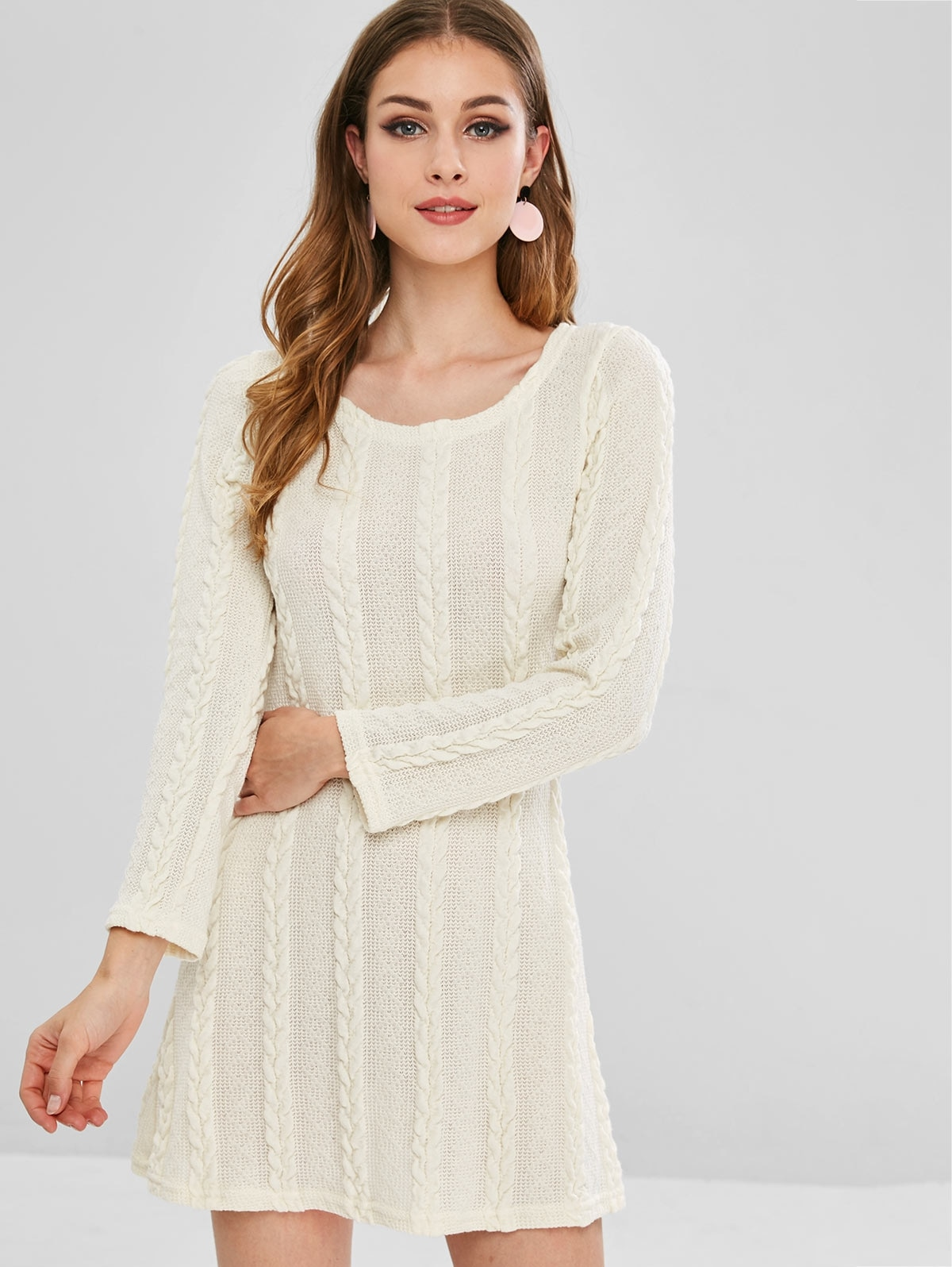 Cable Knit A Line Sweater Dress