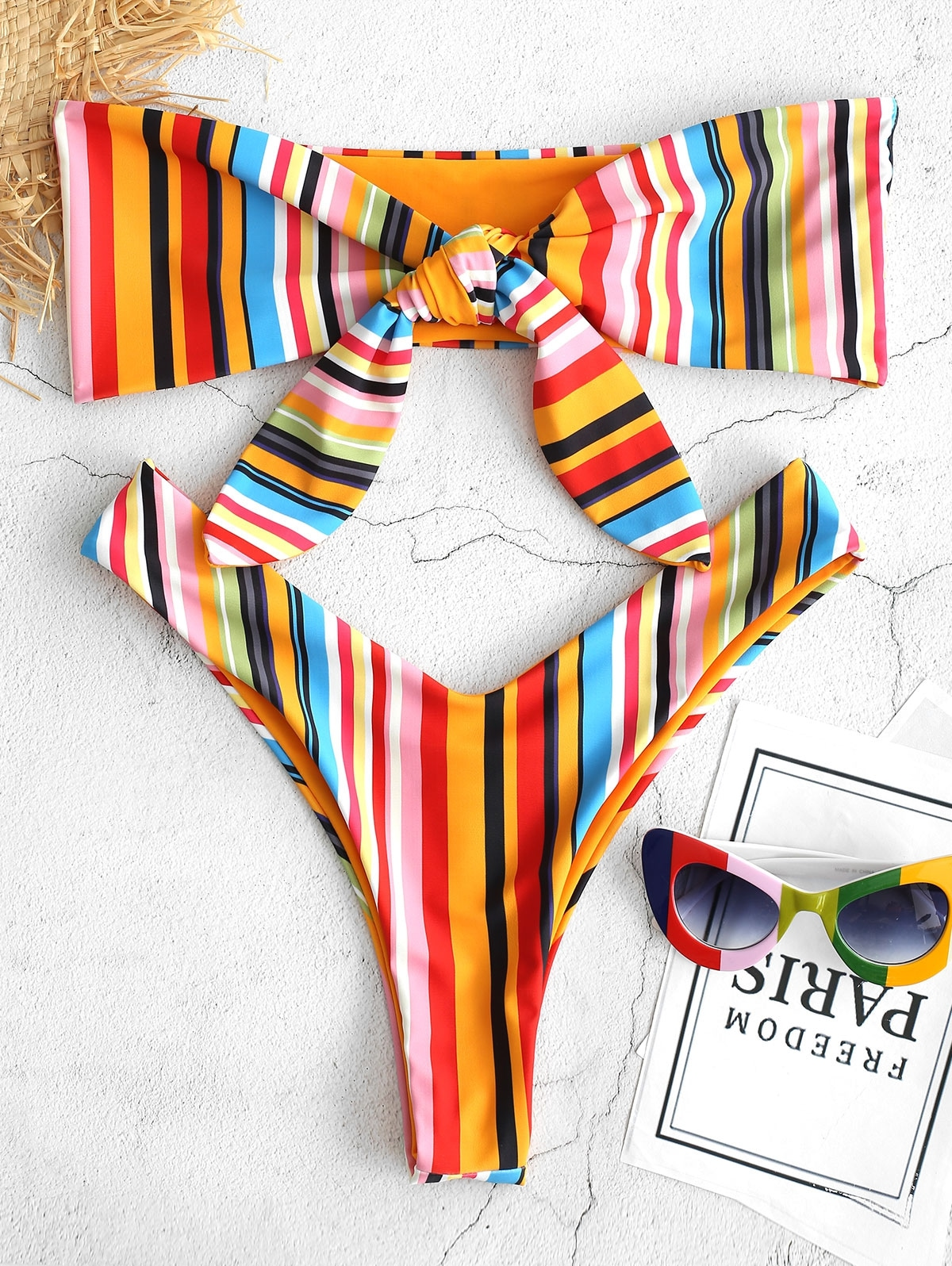 Colorful Striped Reversible Tied Bralette Bikini Set