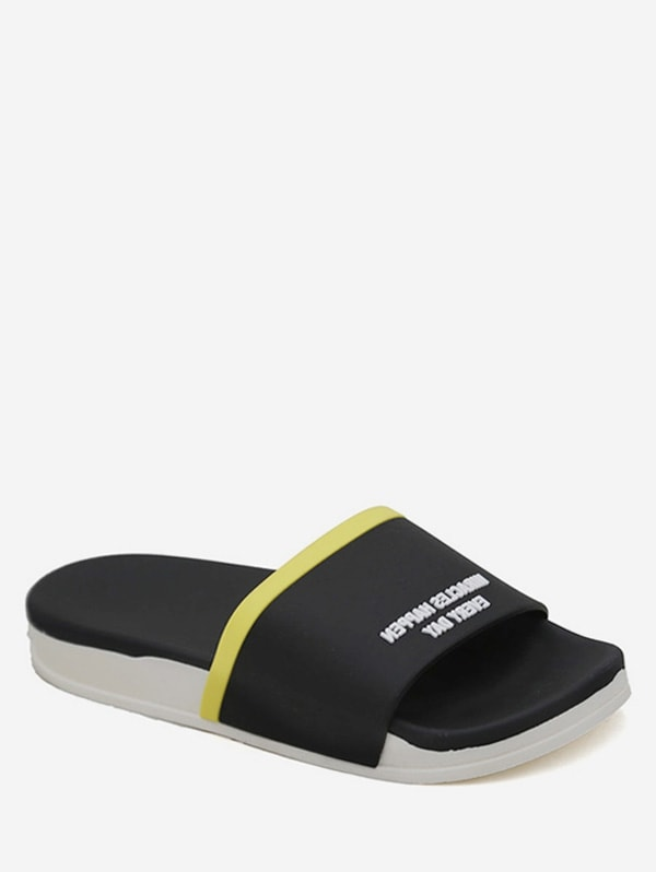 Contrast Letter Flat Slippers