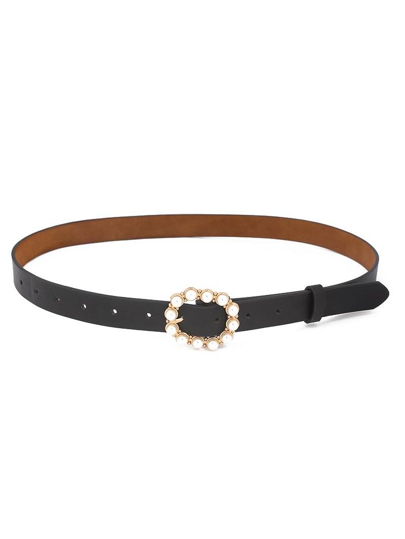 Faux Pearl Round Buckle Belt