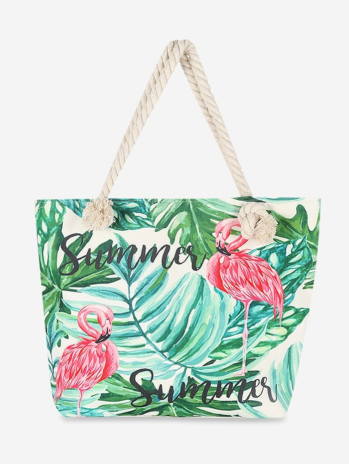 Flamingo Leaves Canvas Tote Bag