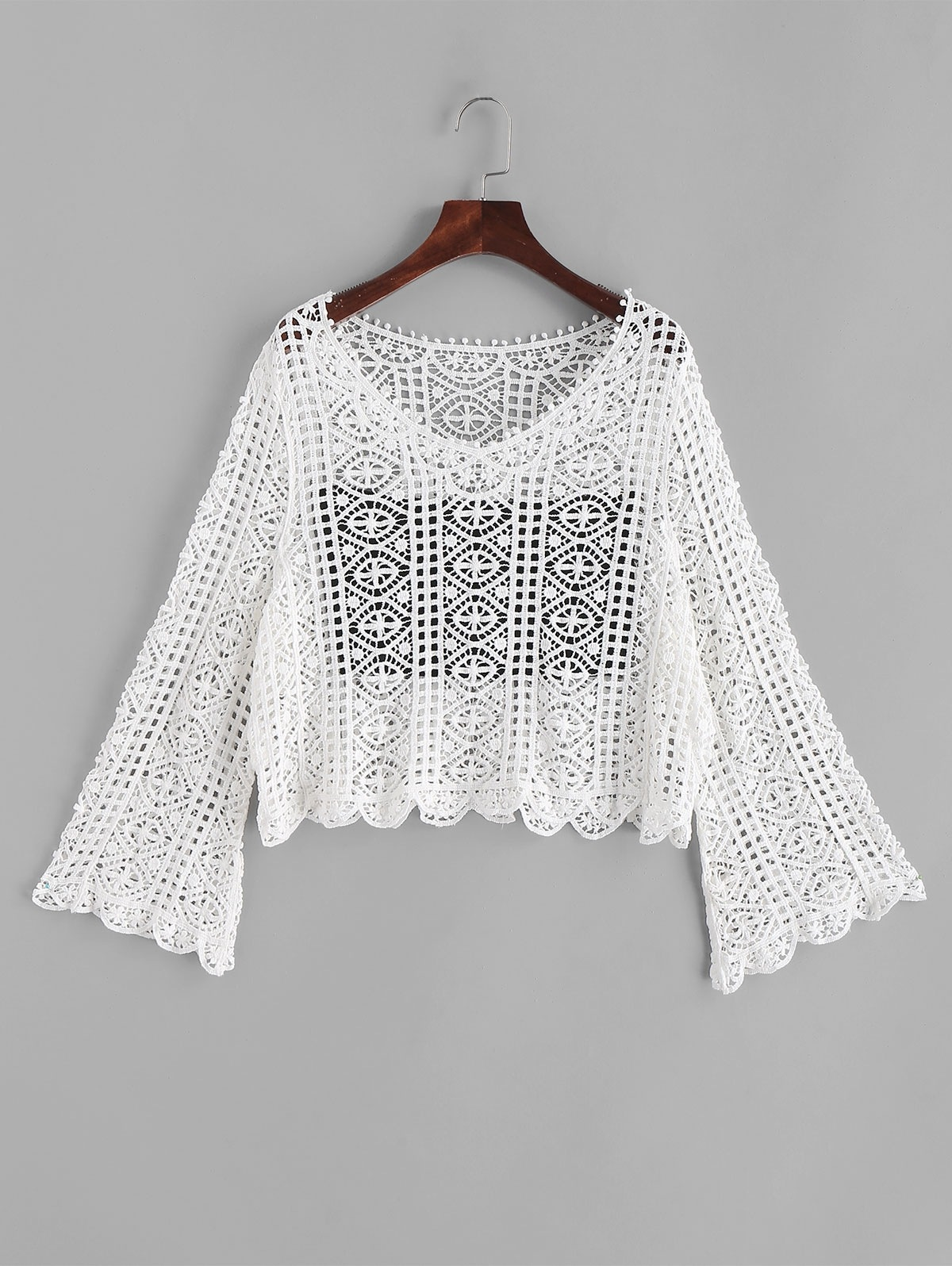 Flare Sleeve Crochet V Neck Cover Up Top