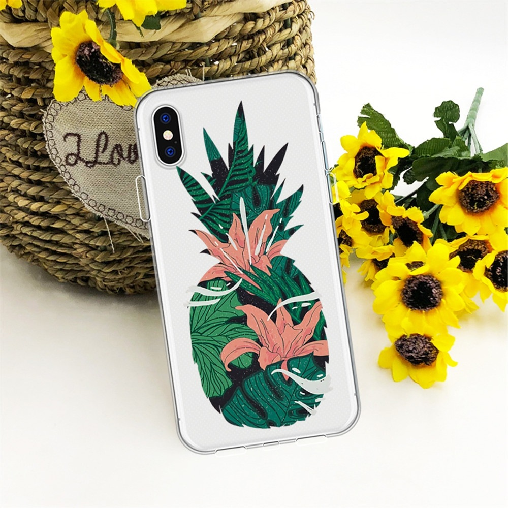 Flexible Pineapple Thickened TPU Wear Proof Soft Protective case for iPhone X