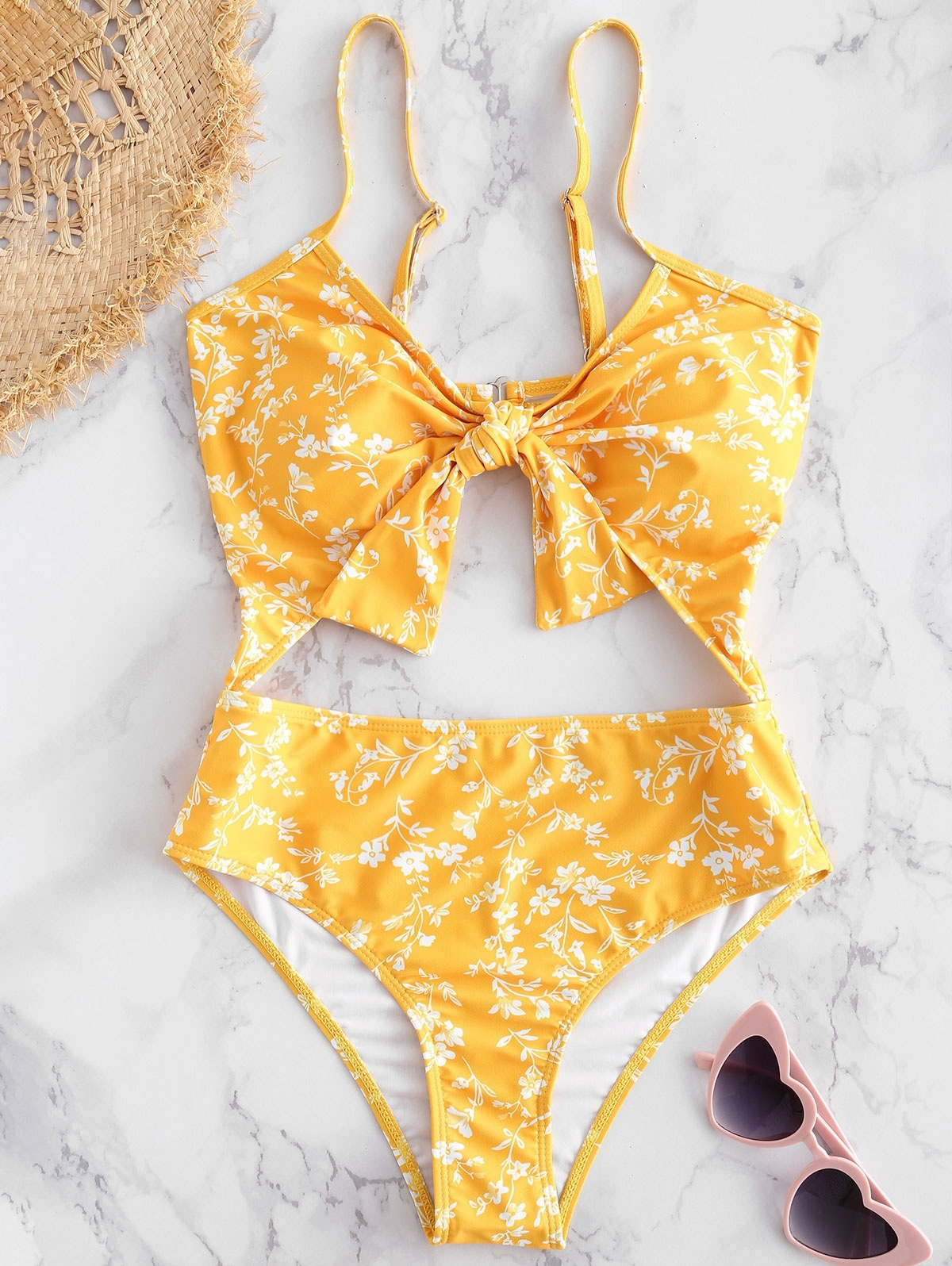 Floral Cut-Out Knotted Swimsuit