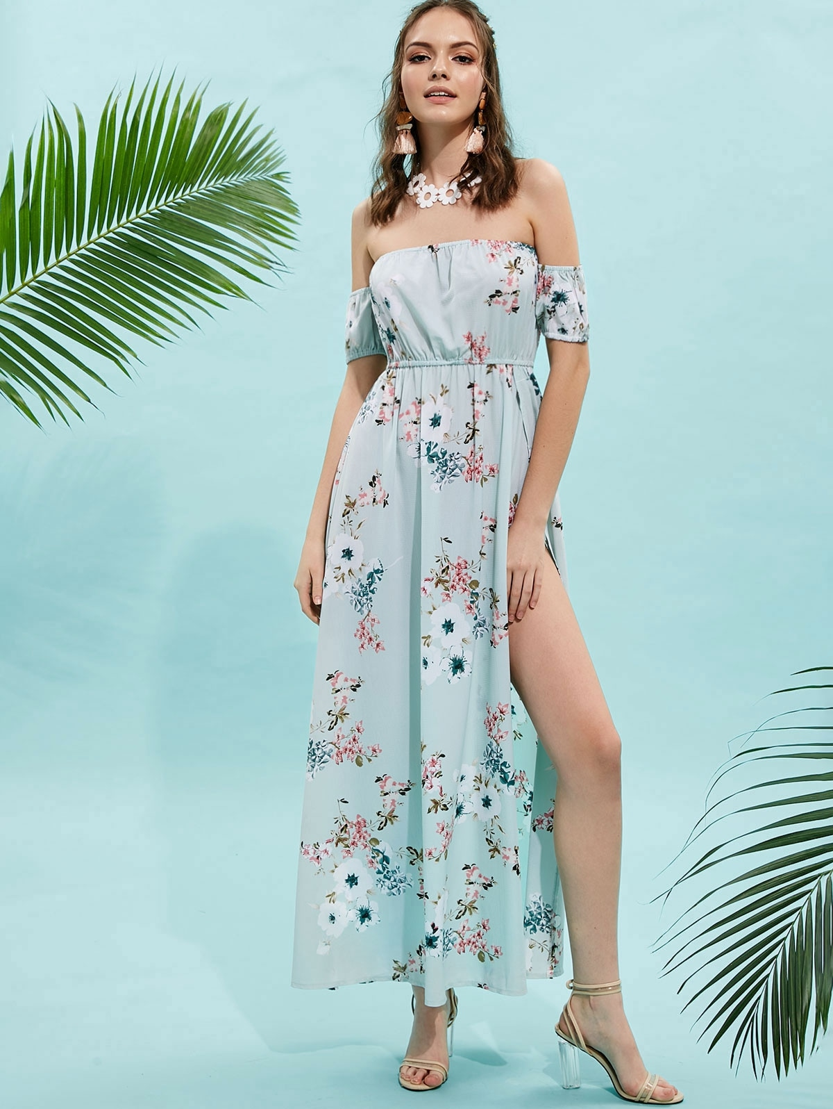 Floral Slit Off Shoulder Maxi Dress