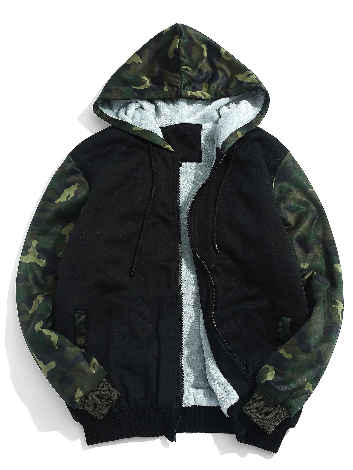 Fluffy Inside Camo Patchwork Jacket