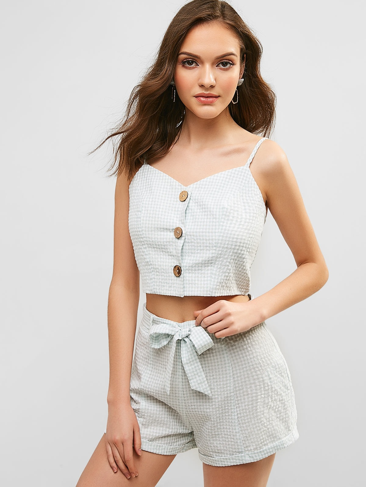Gingham Crop Cami Top and Shorts Set