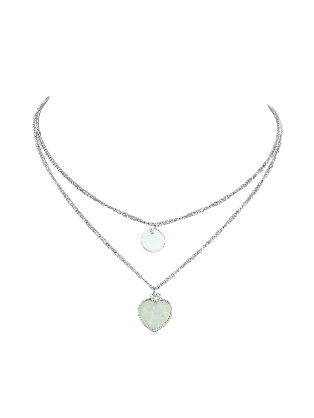 Heart Pendant Double Layer Necklace