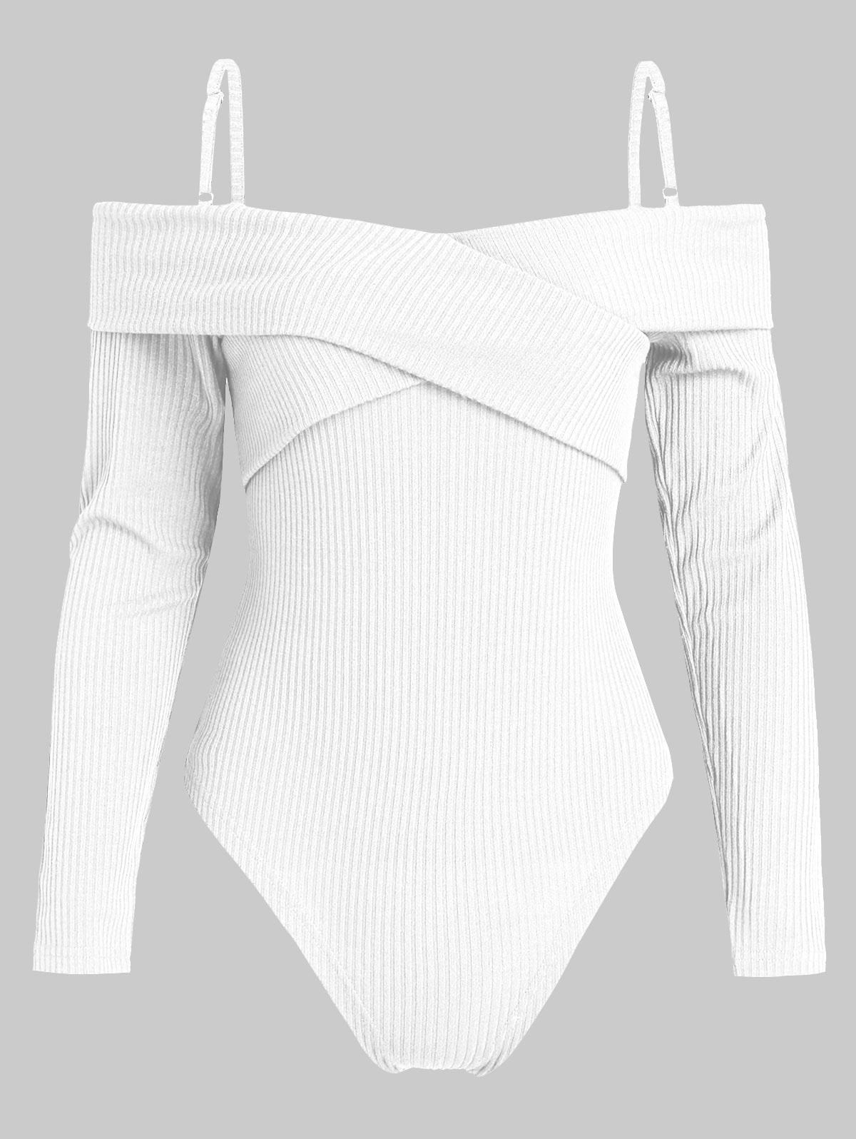 High Cut Long Sleeve Knit Bodysuit