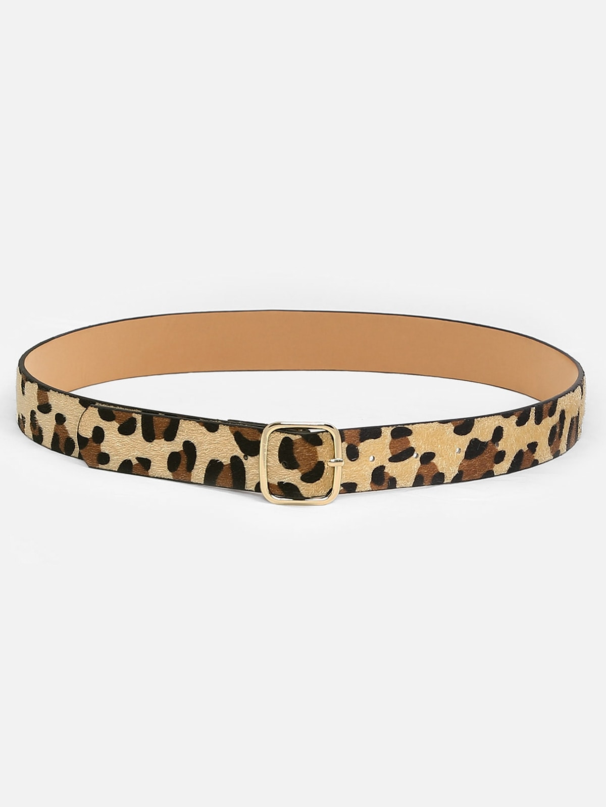 Leopard Pattern Square Buckle Belt