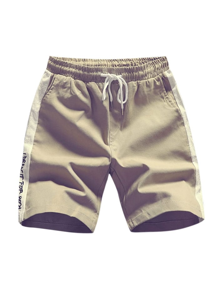 Letters Print Two Tone Panel Shorts