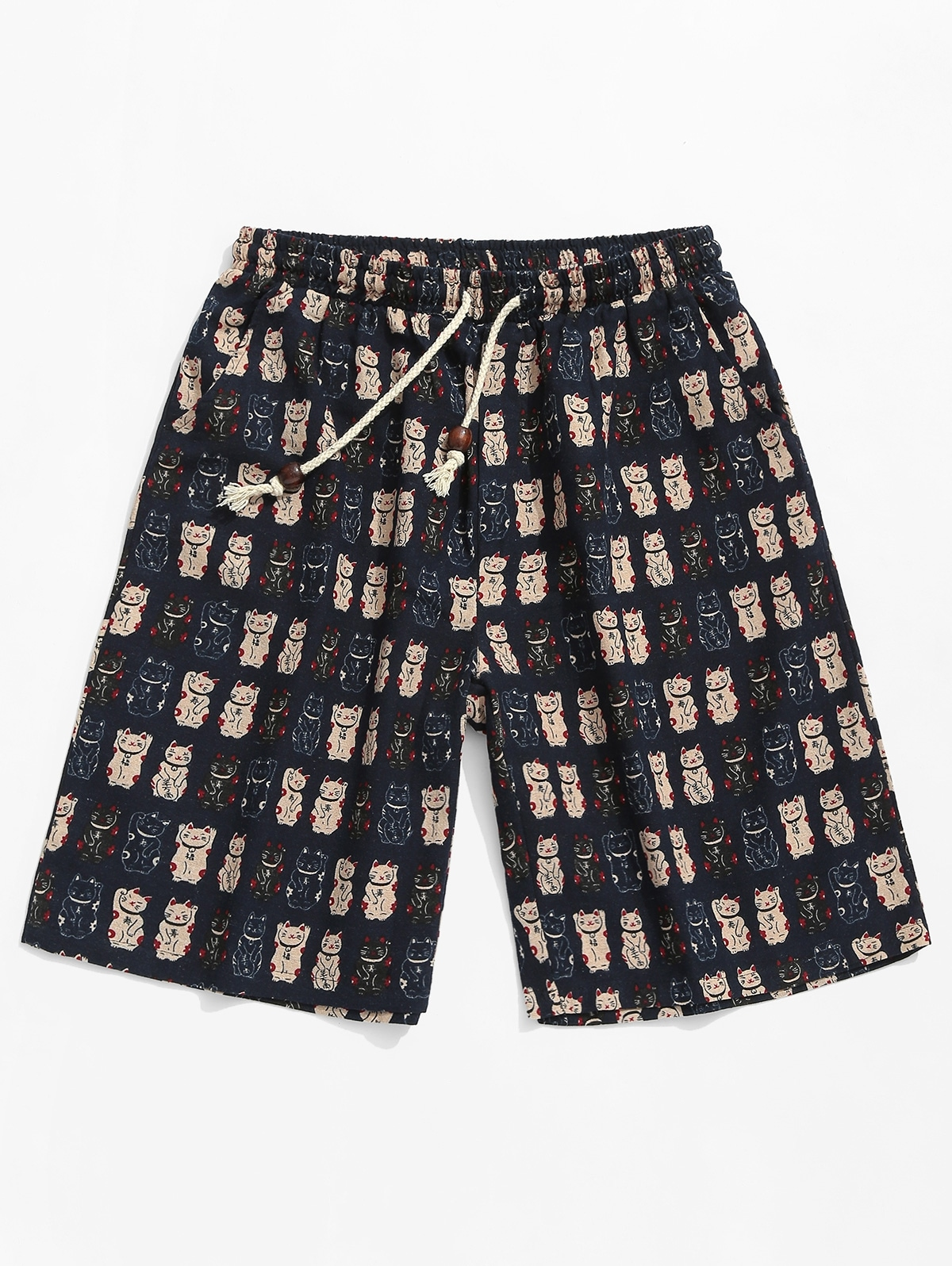 Lucky Cat Print Beach Casual Shorts