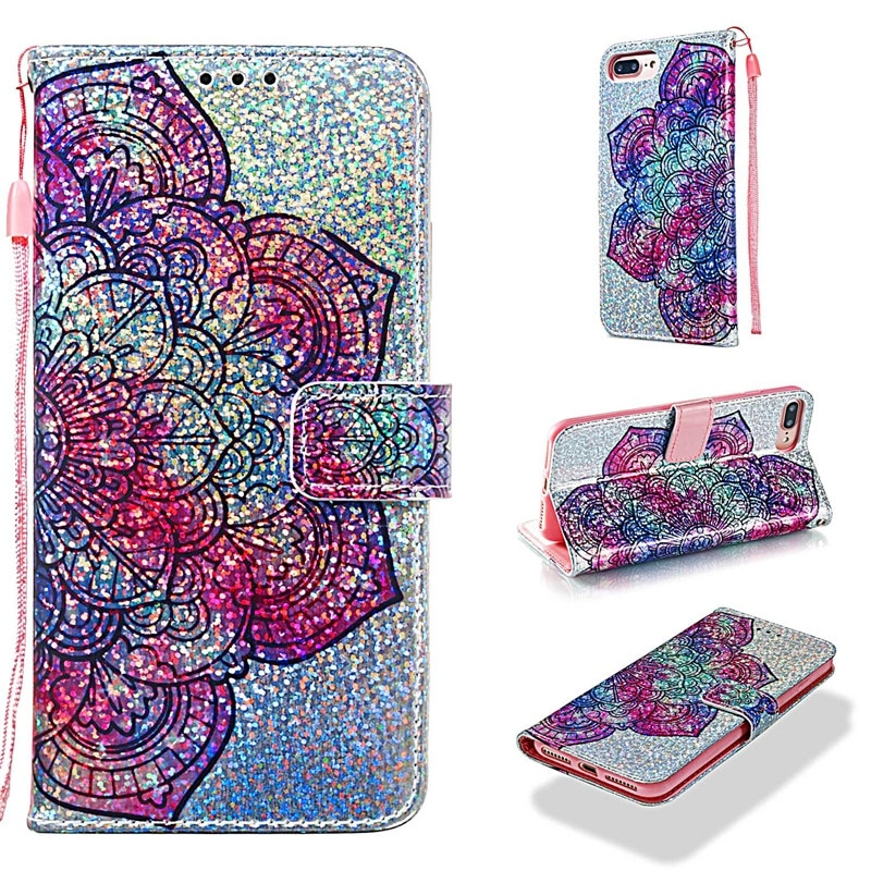 Luxury Glitter Leather Card Wallet Flip Phone Case for iPhone 7 Plus / 8 Plus