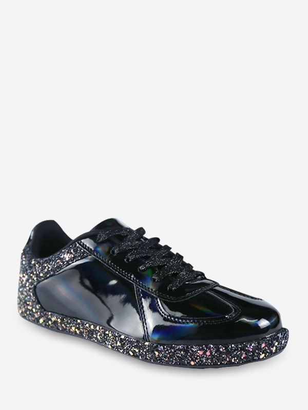 Mirrored Glitter Lace Up Sneakers