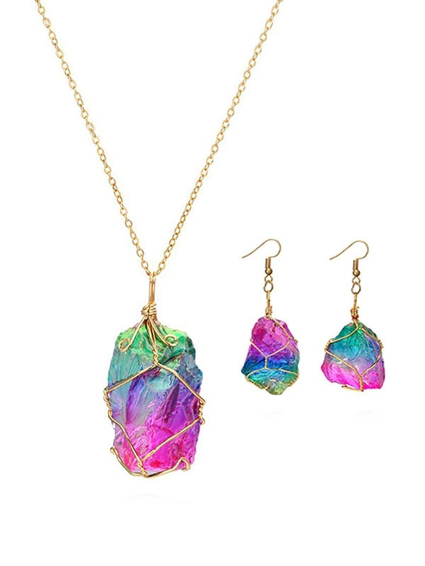 Natural Stone Necklace Earrings Set