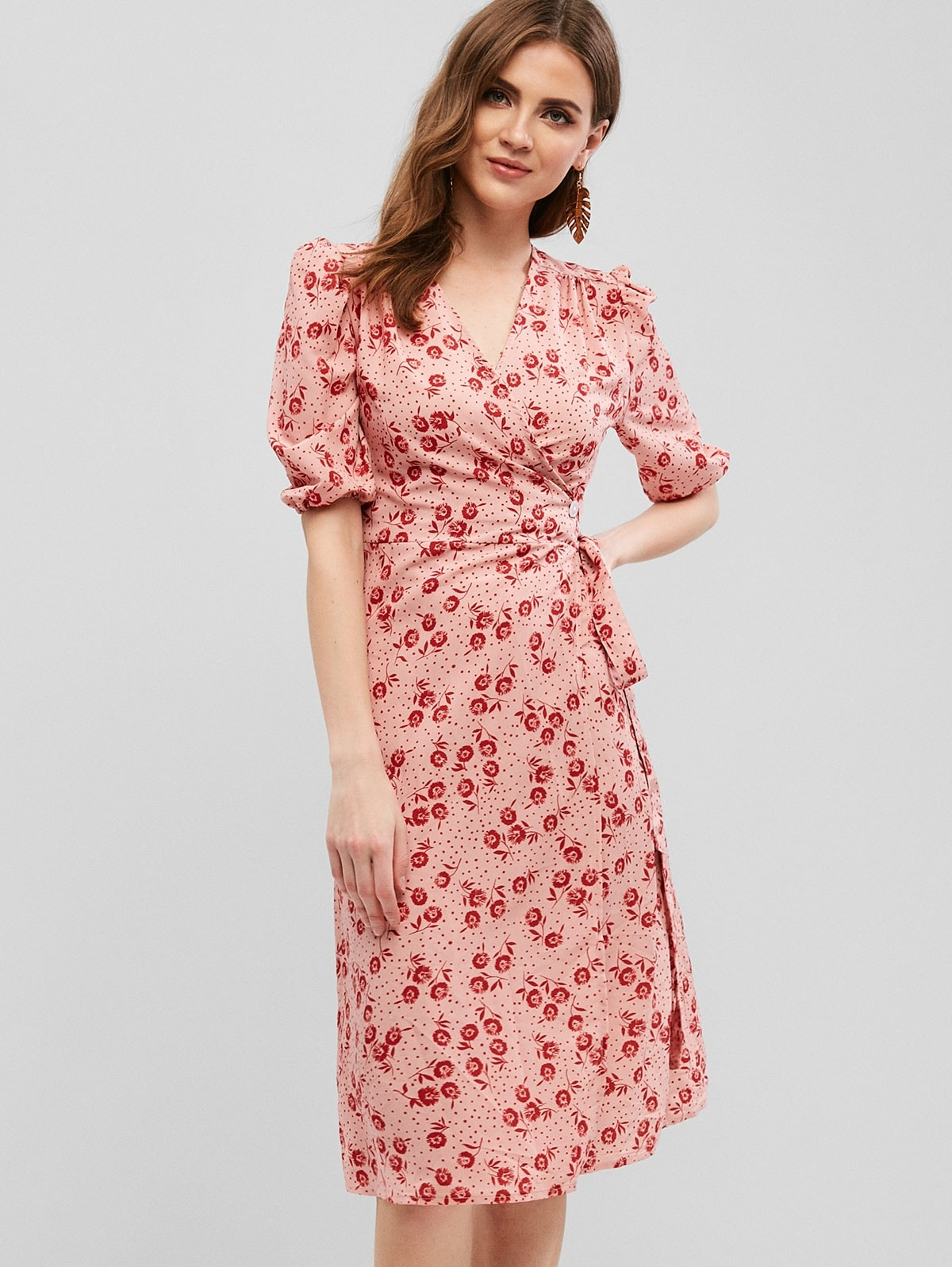 One Button Floral Wrap Midi Dress