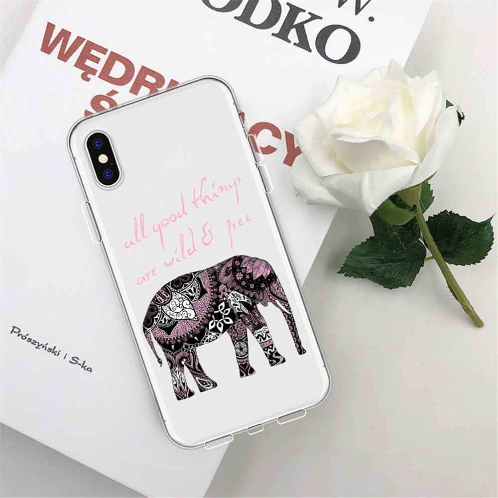Patterned Elephant TPU Wear Proof Soft Protective Case for iPhone XS