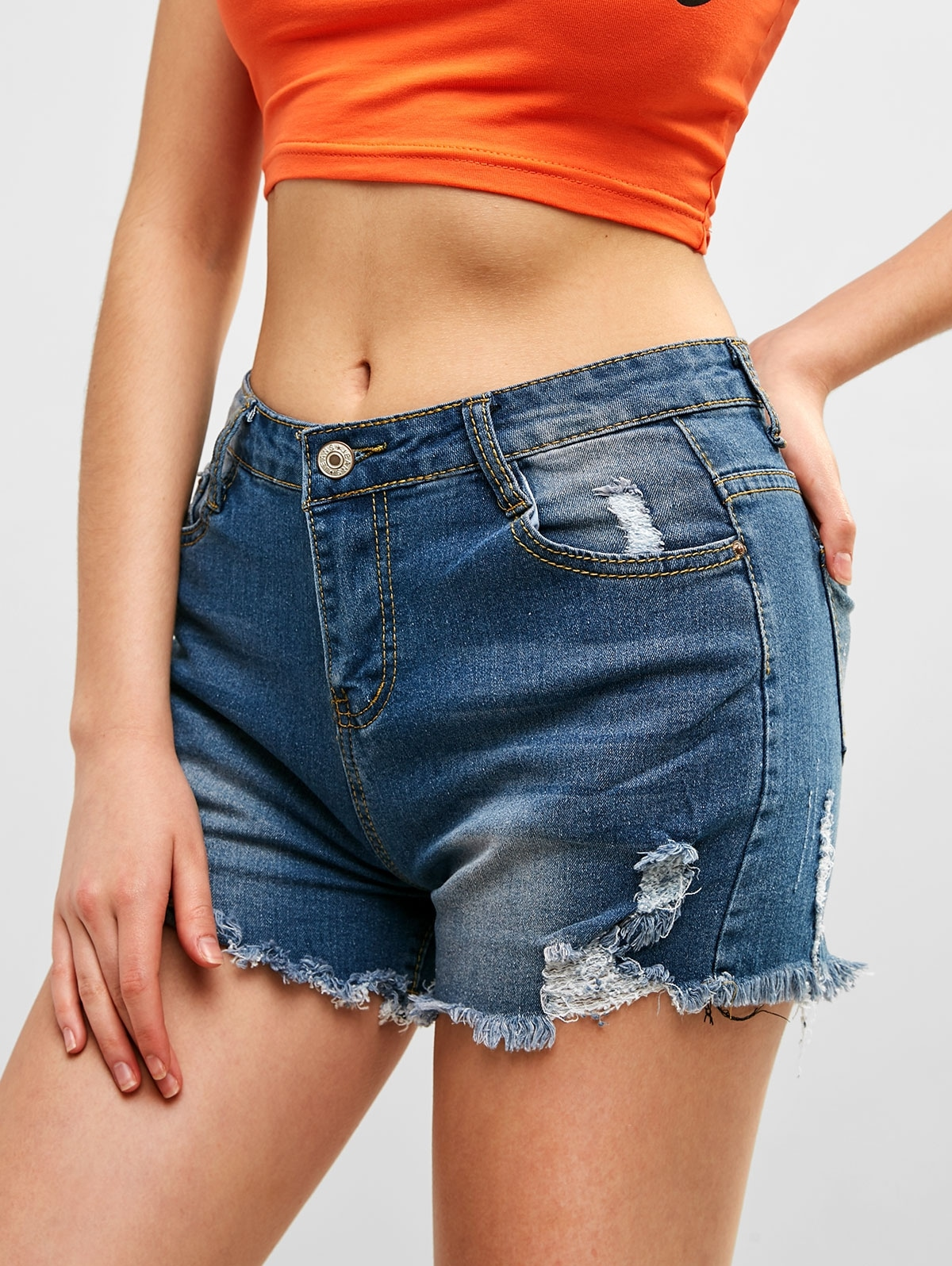 Pocket Ripped Denim Shorts