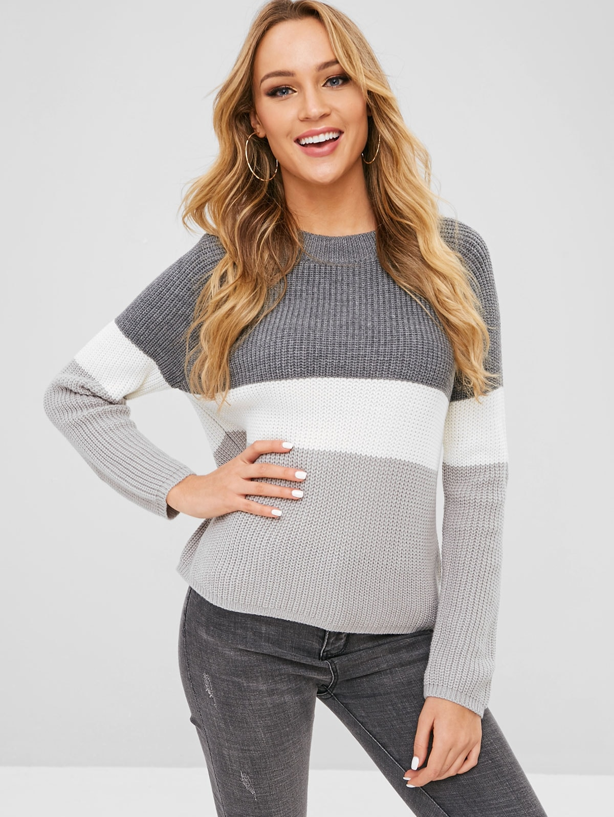 Raglan Sleeves Color Block Chunky Sweater