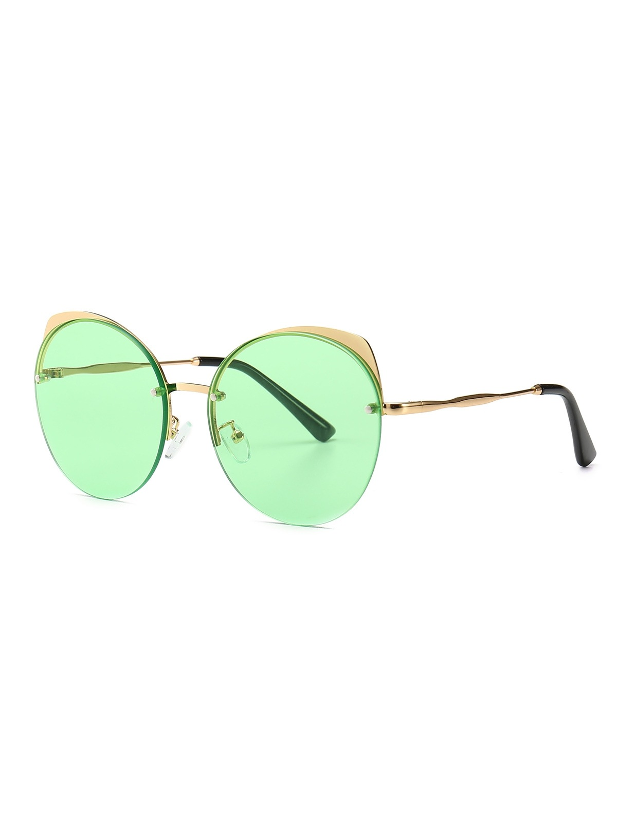 Semi-rimless Catty Eye Round Sunglasses