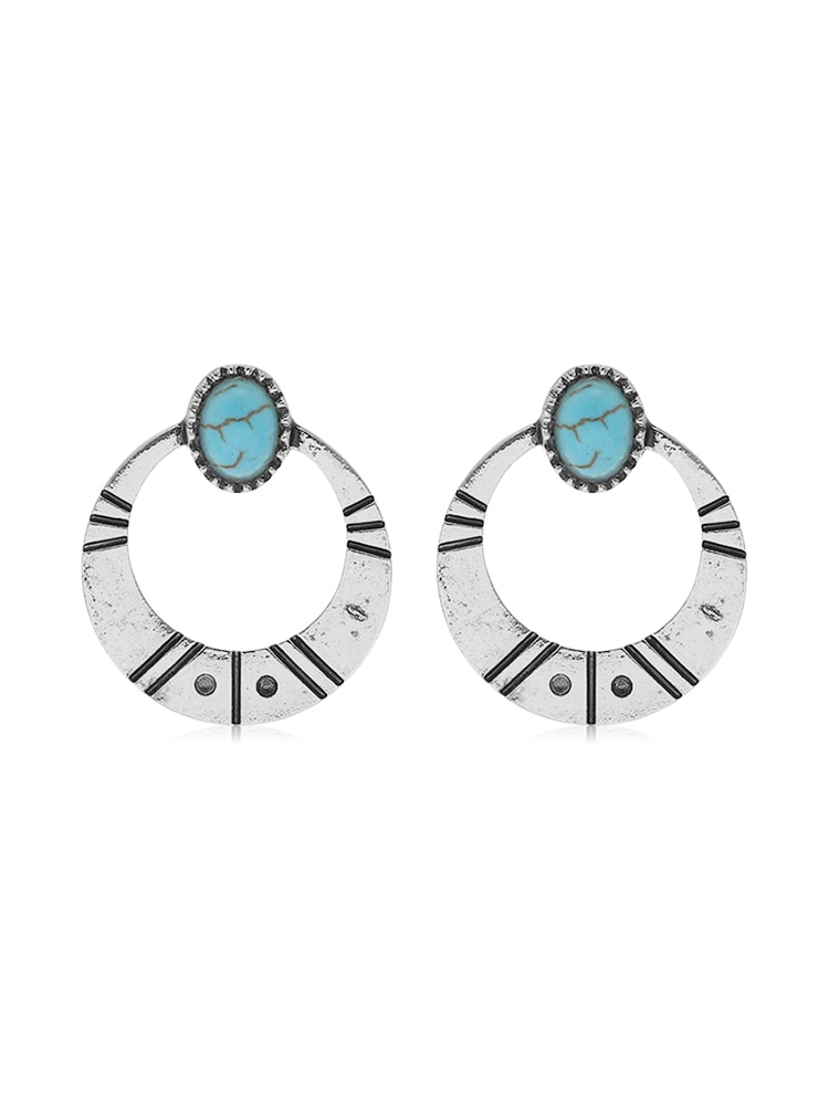 Simple Turquoise Circle Earrings