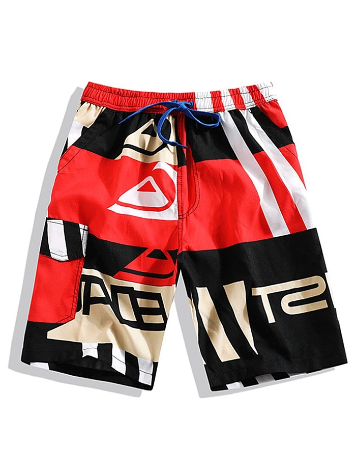 Striped Graphic Print Color Block Shorts