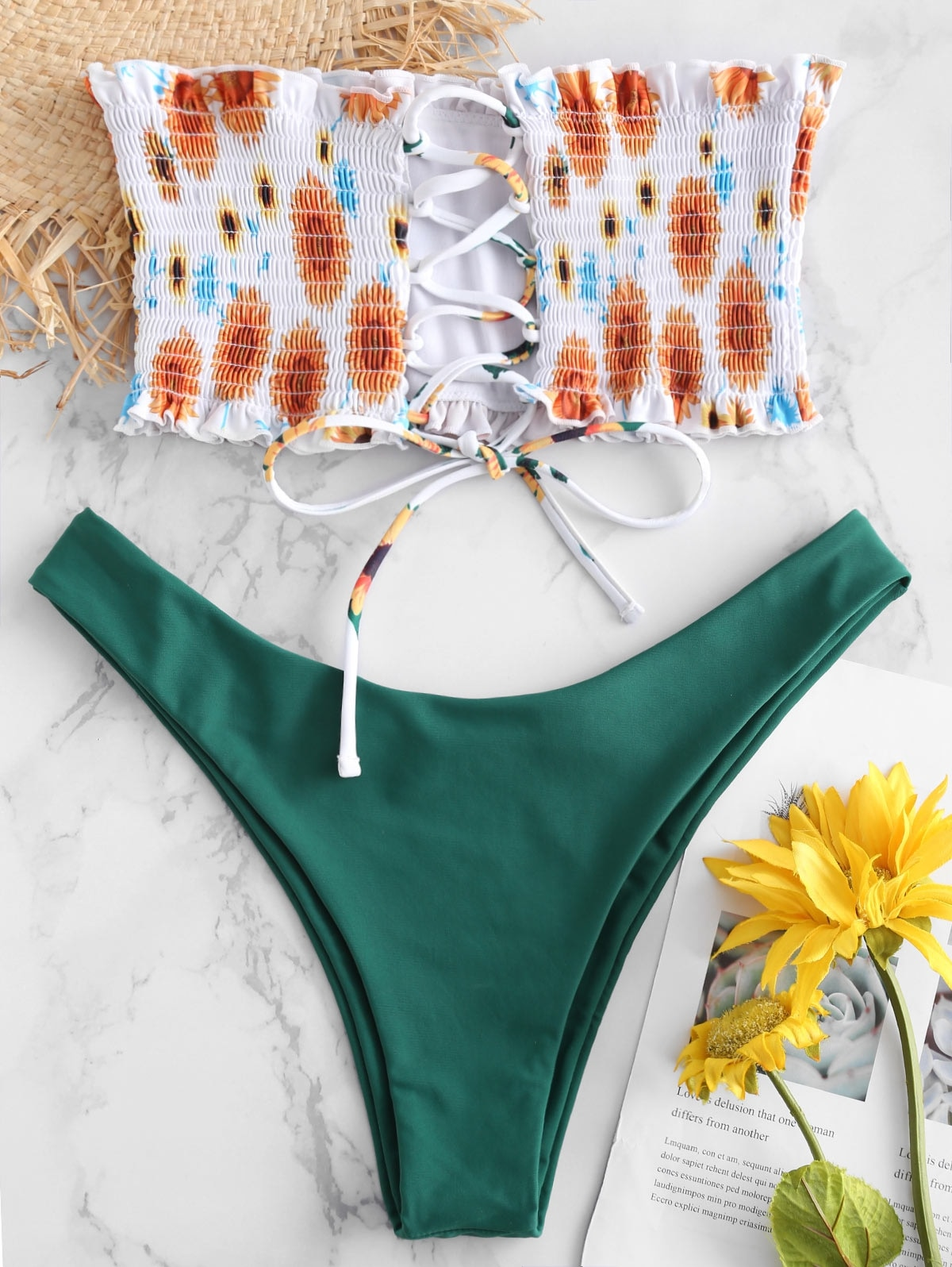 Sunflower Lace-up Smocked Bandeau Bikini