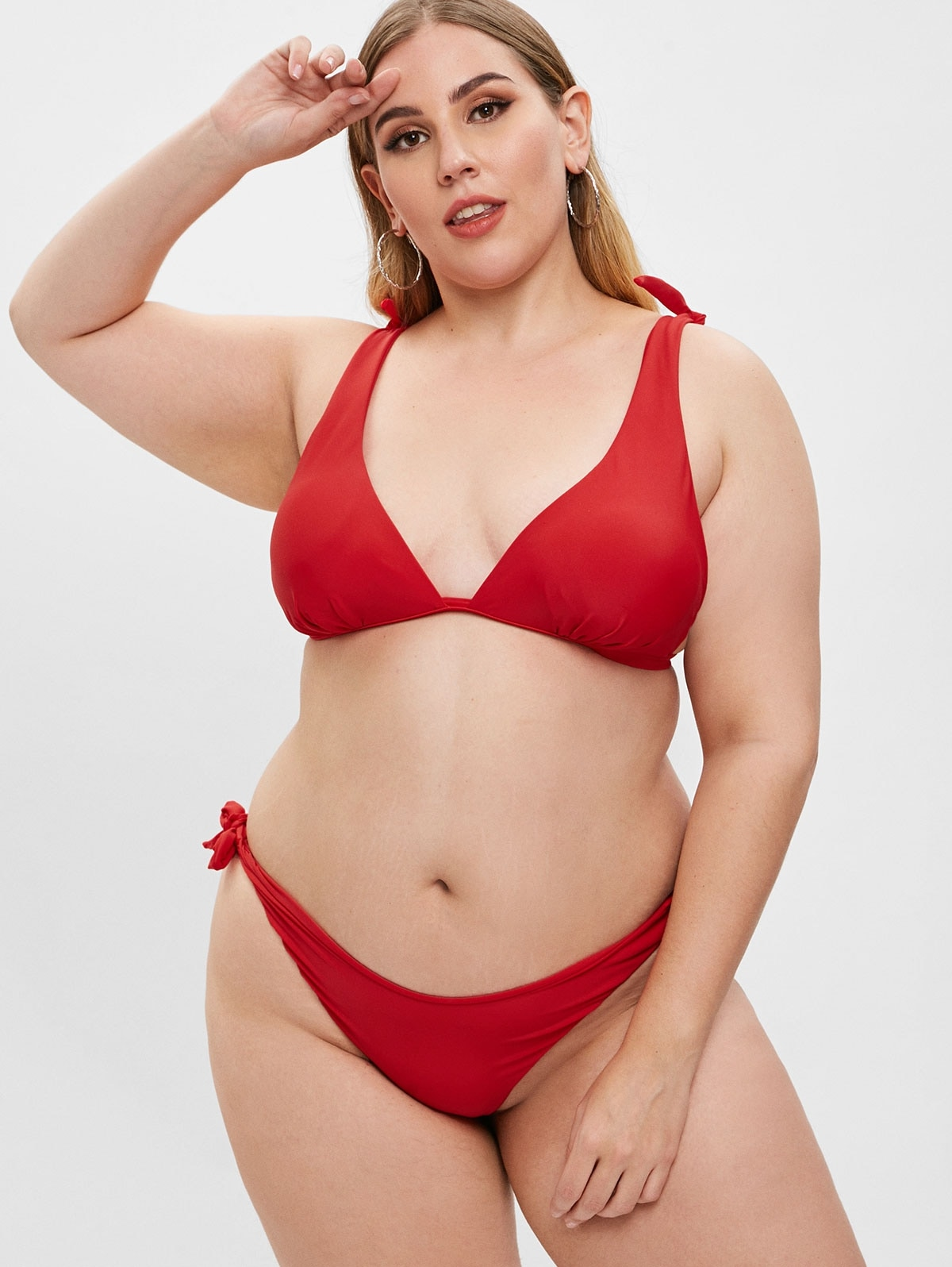 Tied High Leg Plus Size Bikini Set