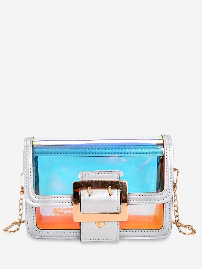 Transparent Holographic Square Crossbody Bag