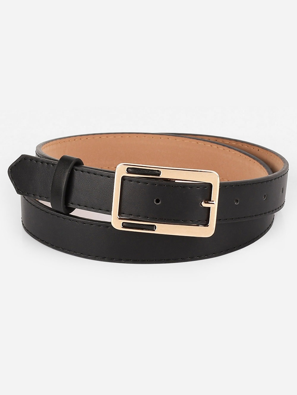 Vintage Alloy Geometric Buckle Faux Leather Belt